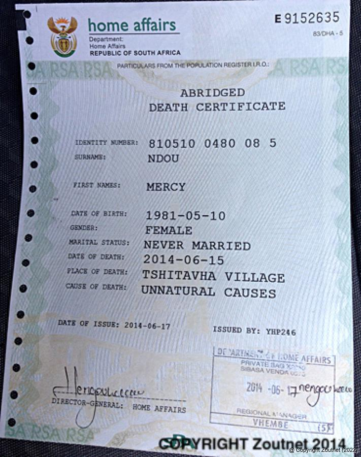 how to get a death certificate of a family member